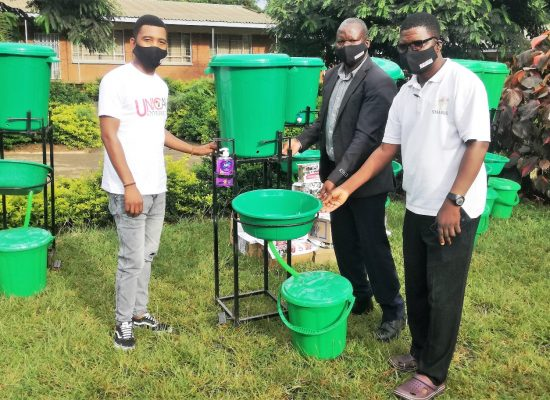 Unicaf University in Malawi joins the effort to fight Covid-19 by donating sanitising equipment to Likuni Boy's Secondary School
