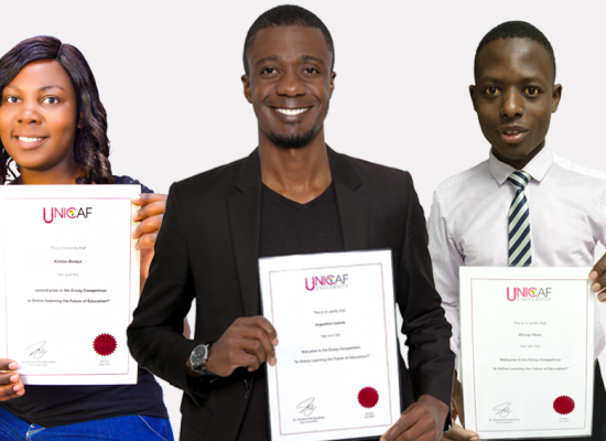 The winners of the Unicaf University essay competition receive their prizes